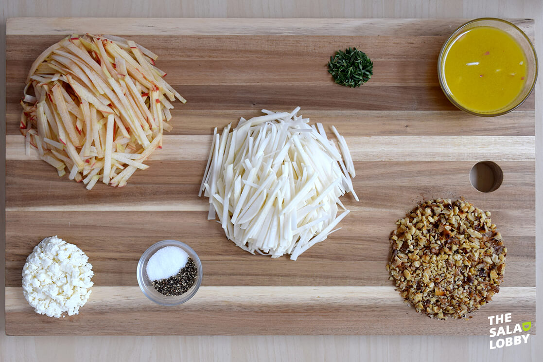 Apple Turnip Slaw - Ingredients Organized Neatly
