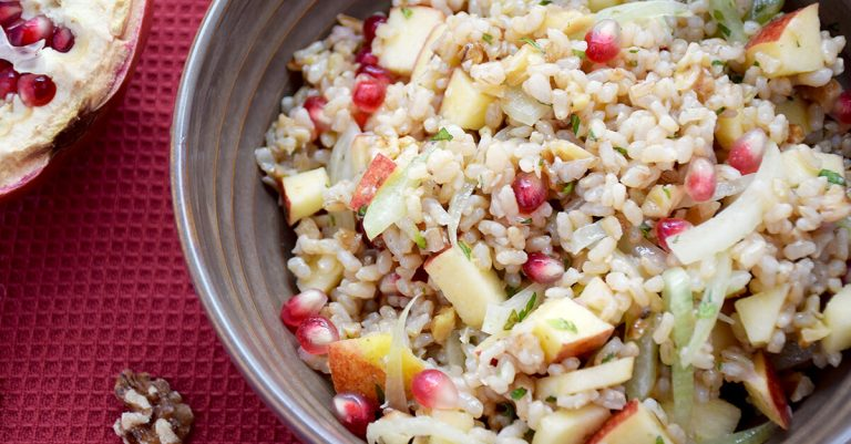 Warm Brown Rice Salad with Fennel, Apple, and Pomegranate