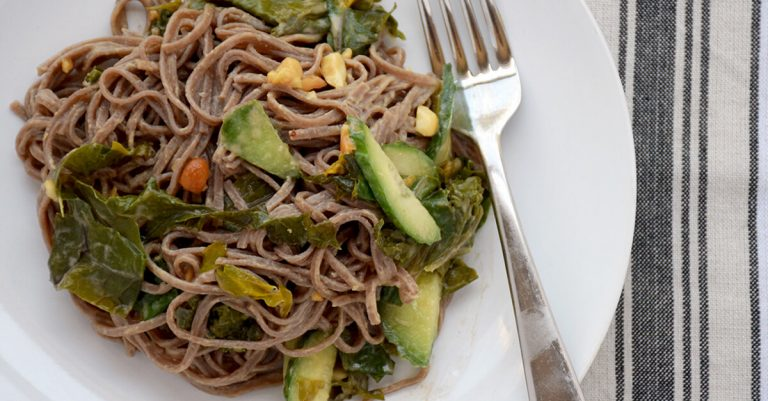 Cold Soba Noodle Salad with Sautéed Greens